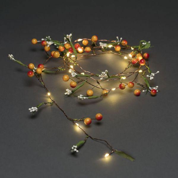 Dekorationsslinga med Bär Blommor 20 Varmvita LED timer 6h Batteri