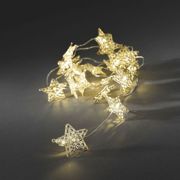 Ljusslinga 20 Guld Metallstjärnor Varmvita LED Batteri