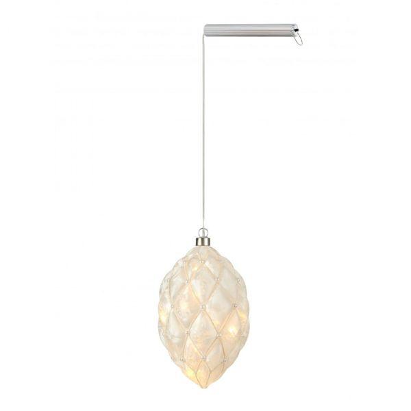 Pearl Glasdekoration 12cm 20L Vit