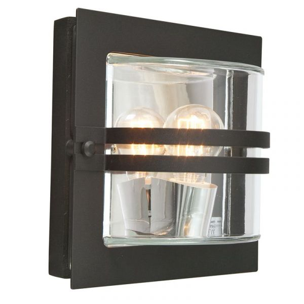 Bern Svart/Klar Ip54 Vägglampa