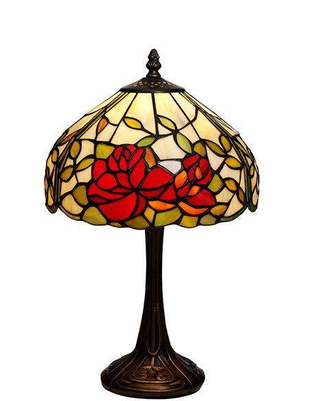 Rosor Tiffany 25cm Bordslampa