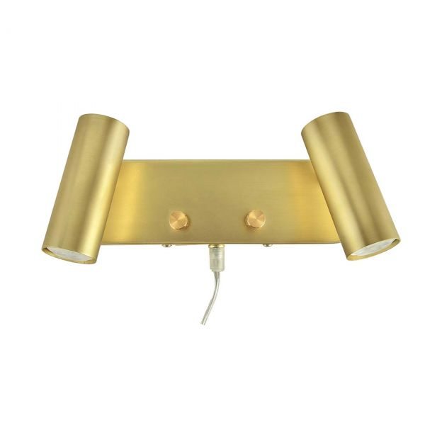 Mini Borstad Mässing 2xLed/Dimmer Vägglampa