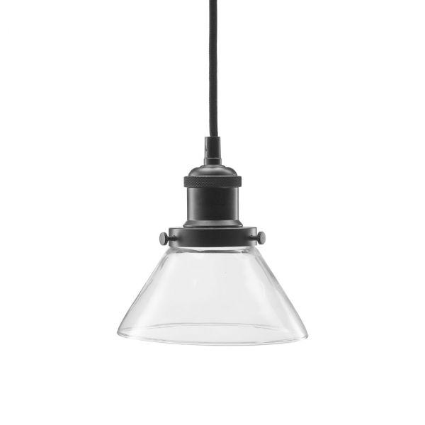 August Fönsterlampa 15cm Glas/Metall Svart
