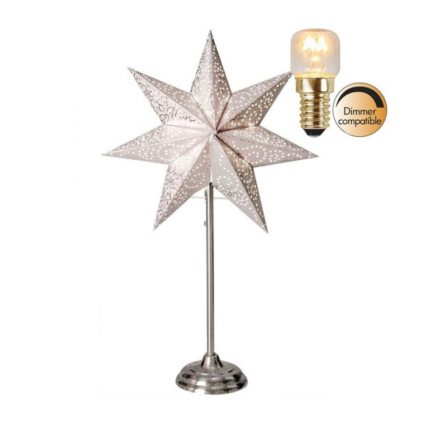 Antique Vit 55Cm Stjärna På Fot Inkl Ljuskälla