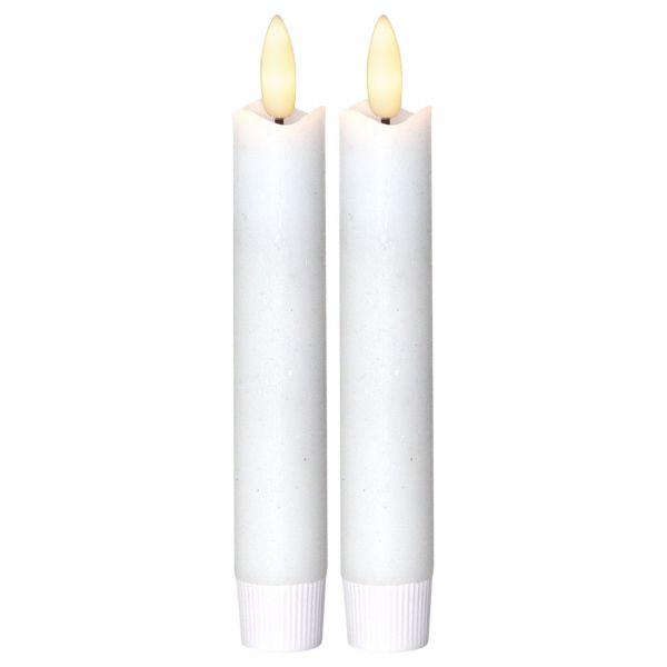 LED Antikljus Flamme 15cm Vit