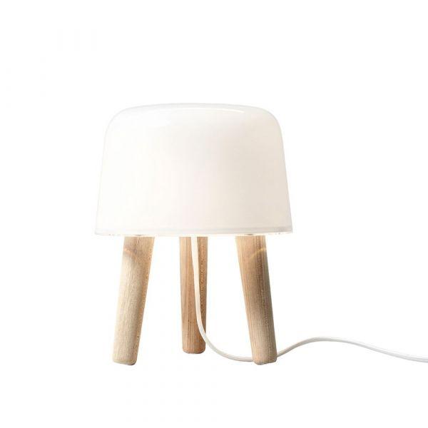 Milk Vit/Ask 25cm Bordslampa