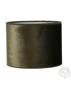 Roma Sammet Mossgrön 20cm Cylinder Lampskärm från Hallbergs Lampskärmar