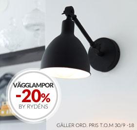 20% Kampanj på vägglampor från By Rydéns och Oriva
