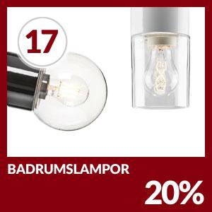 Julkalendern Lucka #17 - Badrumslampor 20% rabatt bara den 17 december 2018 hos Lampan.se